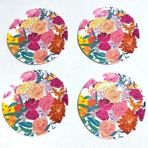 Anthropology Paint + Petals Melamine Plate Set (4)